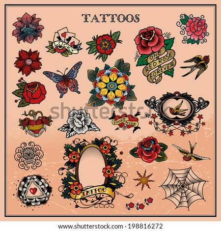 Tattoos, floral, flower - stock vector