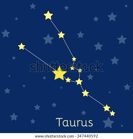 Taurus Earth Zodiac constellation with stars in cosmos. Vector image with navy blue background and stars - stock vector