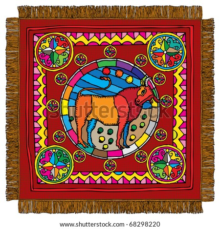 Taurus horoscope sign carpet - stock vector