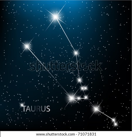 Taurus vector Zodiac sign bright stars in cosmos. - stock vector