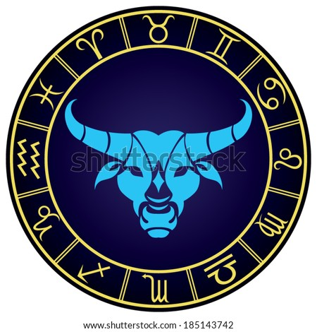 Taurus zodiac sign in the golden frame. Vector Illustration  - stock vector