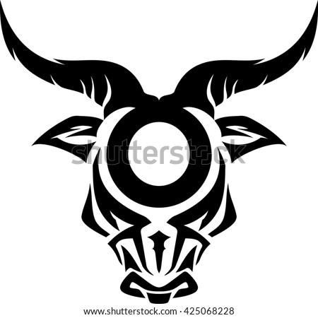 Taurus Zodiac Sign Tattoo Design Stock Vector 425068228 border=