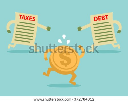 TAX and DEBT hunting grabbing money. Flat design for business financial marketing banking advertisement office people life property stock fund in minimal concept cartoon illustration. - stock vector