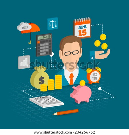 Tax decorative icons isometric set with money finance personal savings elements vector illustration - stock vector