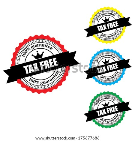 Tax Free Labels, Stamps, Sticker and Tag set  isolated on white background - Vector.
