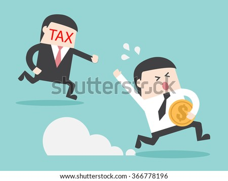 TAX hunting grab businessman with money. Flat design for business financial marketing banking advertisement office people property in minimal concept cartoon illustration. - stock vector
