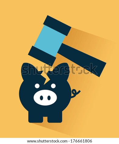 tax icon over orange  background vector illustration - stock vector