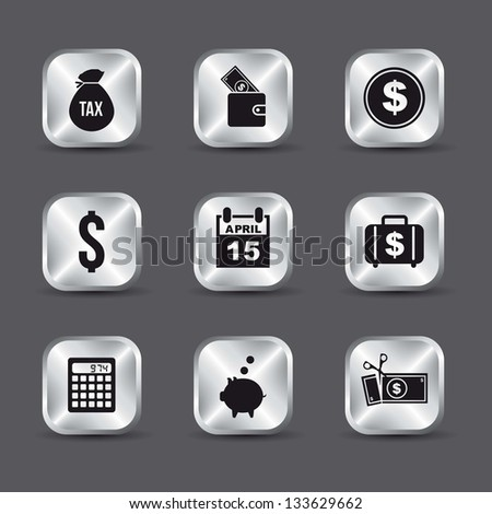 tax icons over gray background. vector illustration - stock vector