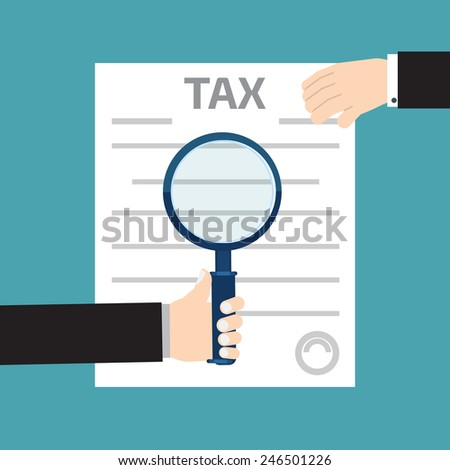Tax inspector concept illustrations with hand, flat style - stock vector