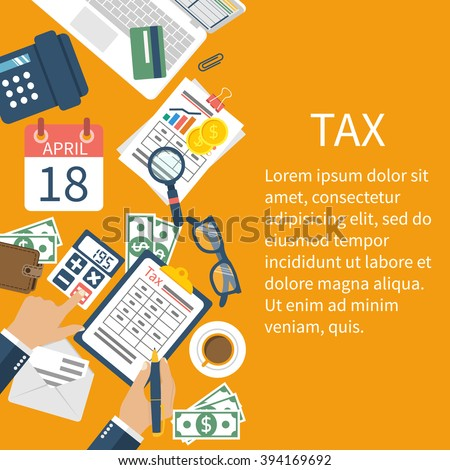 Tax payment. Government taxes. State taxes. Data analysis, paperwork, financial research, report. Businessman calculation tax. Calculation of tax return. Flat design. Tax form vector. Payment of debt. - stock vector