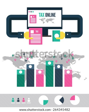 Tax payment online info graphic. flat design elements. vector illustration - stock vector