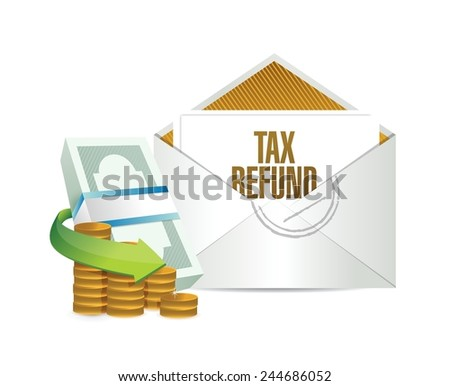 tax refund envelope and bills. illustration design over a white background - stock vector