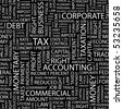 TAX. Seamless vector background. Wordcloud illustration. - stock vector