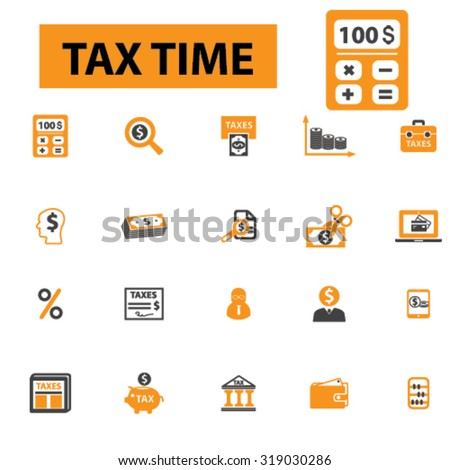 tax time, accounting, debt, taxation, income revenue, economy, finance, budget, money calculator, savings, refund, billing icons, signs vector