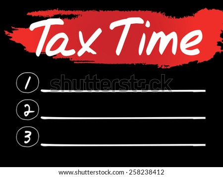Tax Time Blank List, vector concept background - stock vector