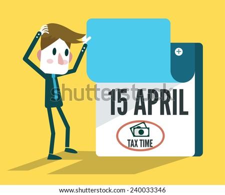 Tax Time Calendar. flat design elements. vector illustration - stock vector