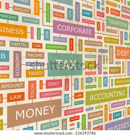 TAX. Word collage. Vector illustration. - stock vector