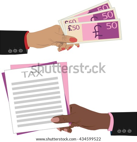 Taxes design on white background, vector illustration, cartoon of Hand, giving money pound to other hand - stock vector