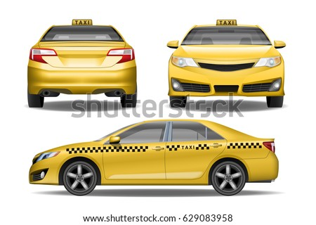 Taxi Cab Front Back Side View Stock Vector 629083958 Shutterstock