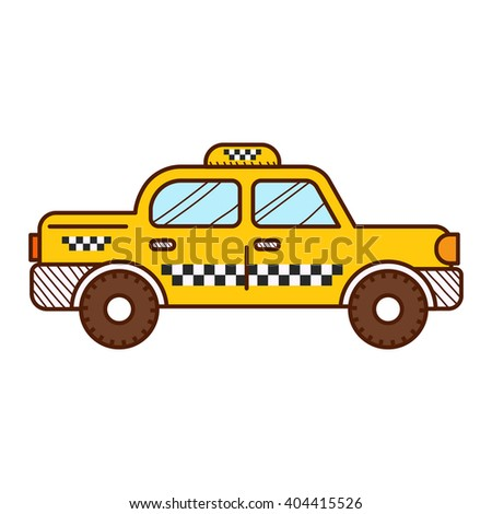 Taxi cab isolated on white background - stock vector