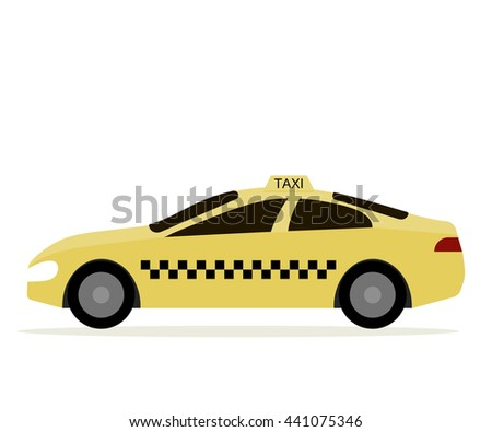 Taxi cab isolated. Yellow car taxi driver icon. Vector illustration flat design - stock vector