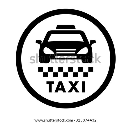 taxi cab services isolated round black icon - stock vector