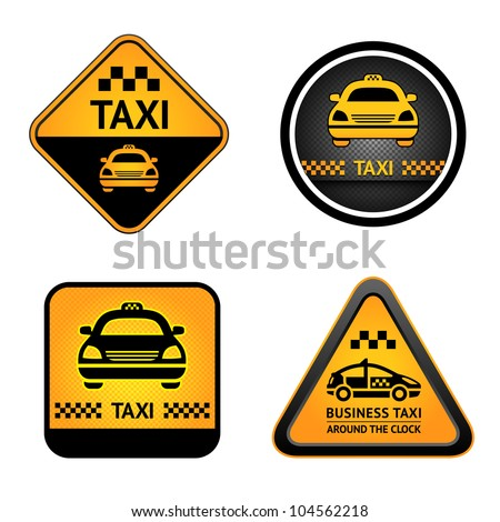 Taxi cab set symbols, street orange signs