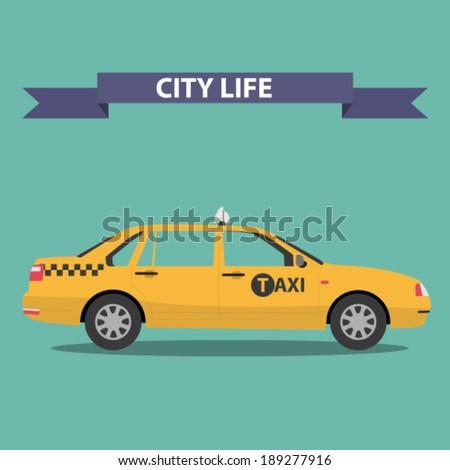 taxi car flat design - stock vector