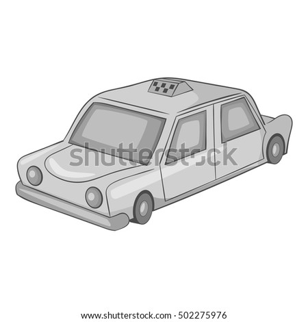 Taxi car icon. Gray monochrome illustration of taxi car vector icon for web