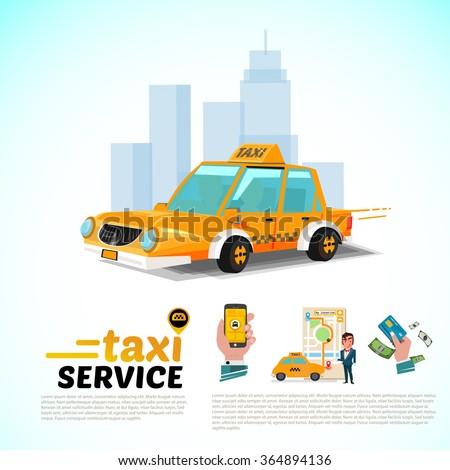 Taxi car in the city. public taxi service application concept - vector illustration - stock vector