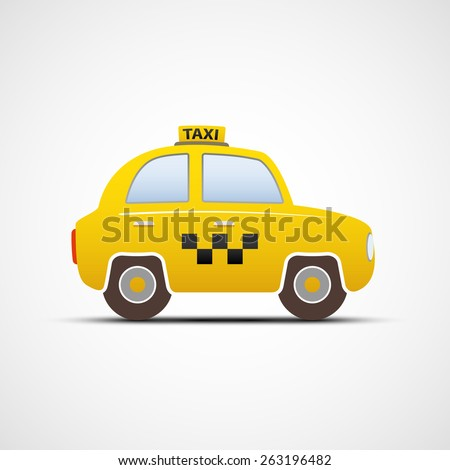Taxi car isolated on white background. Vector image. - stock vector