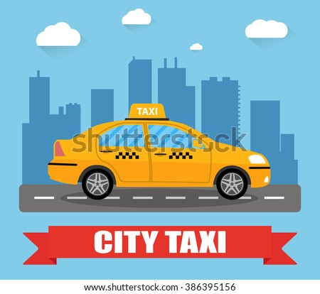 taxi car on city background - stock vector