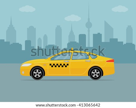 Taxi car on city background. Flat styled vector illustration.   - stock vector