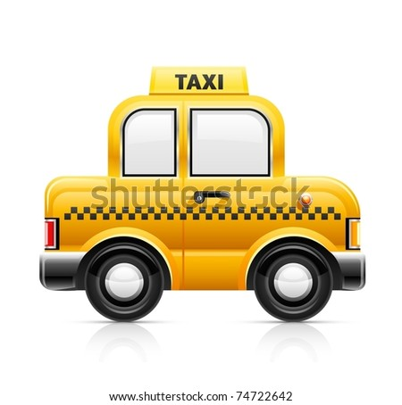 taxi car vector illustration isolated on white background - stock vector
