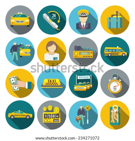 Taxi driver transportation car service cab man flat long shadow icons set isolated vector illustration - stock vector