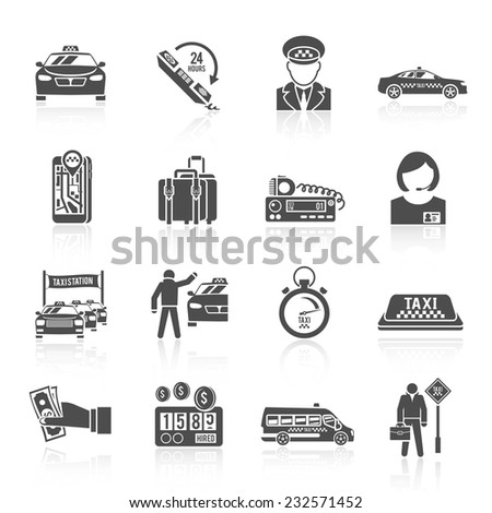 Taxi driver transportation car service cab man icons black set isolated vector illustration - stock vector