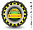 Taxi icon wheel car.Vector - stock vector