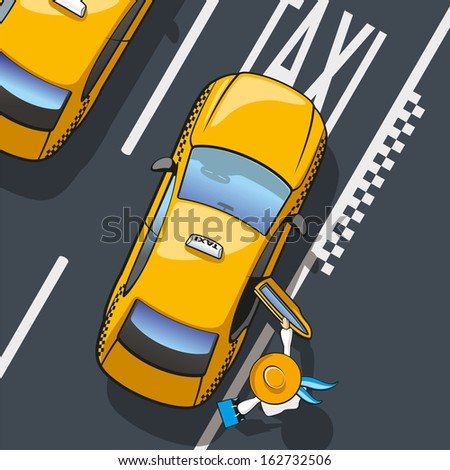 Taxi. Illustration landing in the yellow city taxi. - stock vector