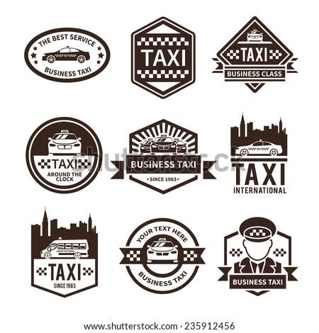 Taxi international public auto car transportation service black label set vector illustration - stock vector