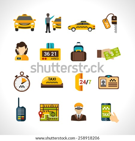 Taxi service icons set wth payment cab driver id isolated vector illustration - stock vector