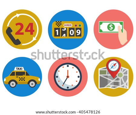 Taxi service set - stock vector