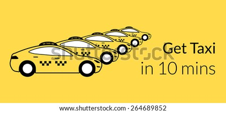 Taxi station of yellow hatchback cars. Text outlined. - stock vector