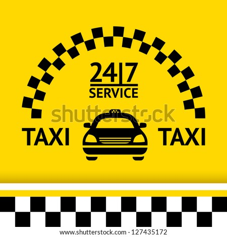 Taxi symbol, and car on the  background, vector illustration - stock vector