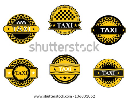 Taxi symbols and signs set for transportation service design, also for emblem or logo template. Jpeg (bitmap) version also available in gallery - stock vector