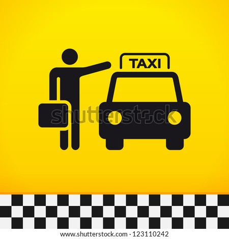 Taxi Theme with Passenger - Passenger waiting for taxi with suitcase in hand - stock vector