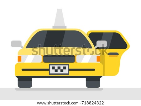 Taxi with open door. Inside car. Yellow vehicle. Taxi call service. Fast  sc 1 st  Shutterstock & Taxi Open Door Inside Car Yellow Stock Vector 718824322 - Shutterstock