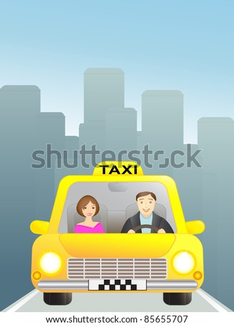 taxi with passenger in big city - stock vector