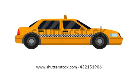 Taxi yellow car isolated on white background. Vector yellow taxi van and cab transport traffic urban yellow taxi. Road street service yellow taxi car isolated, Van truck taxi bus - stock vector