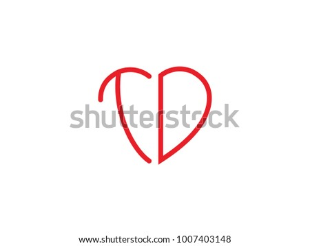Td Initial Heart Shape Red Colored Stock Photo Photo Vector