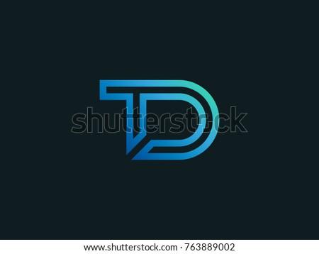 Td Tech Letter Logo Design Letters Stock Vector Royalty Free
